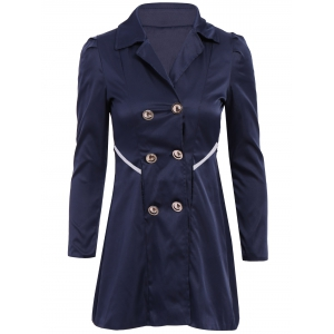 Casual Turn-Down Collar Solid Color Double-Breasted Long Sleeve Women's Coat - Cadetblue - 2xl