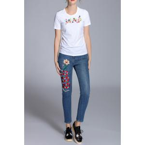 High Waist Embroidered Jeans -