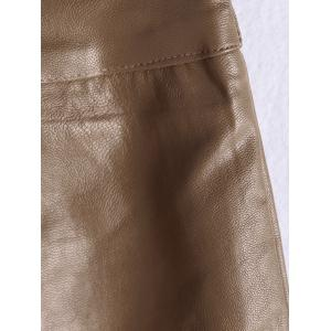 Faux Leather Skirt - BROWN M