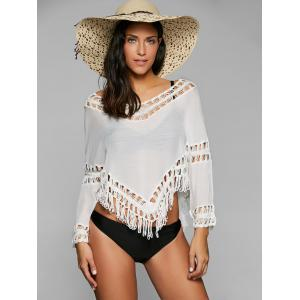 Crochet Panel Long Sleeve Cover Up Top - White - One Size