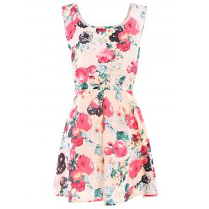 Floral A Line Chiffon Printed Dress -