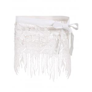 Sexy White Lace Hollow Out Tassels Swim Skirt For Women - White - S