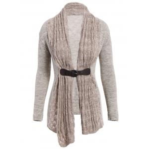 Stylish Collarless Long Sleeve Spliced Slimming Women's Cardigan - Gray - L
