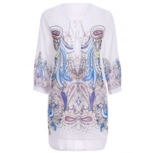 Stylish 3/4 Sleeve V-Neck Lace-Up Printed Women's Dress - White - M