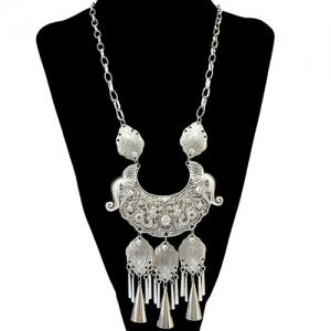 Ethnic Engraving Dragon Elephant Fringe Statement Necklace
