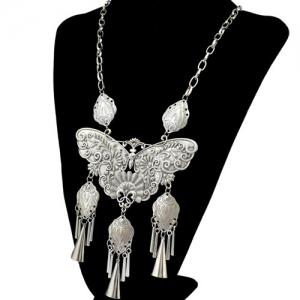 Statement Engraving Butterfly Fringed Statement Necklace -