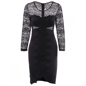 See-Through Lace Panel Bodycon Club Dress