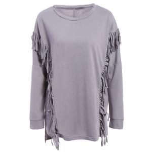 Trendy Scoop Neck Long Sleeve Loose-Fitting Fringe Design Women's Sweatshirt