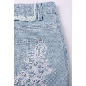 Frayed Hem Embroidered Jeans -