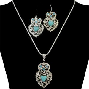 A Suit of Rhinestone Faux Turquoise Heart Necklace and Earrings