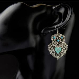 A Suit of Rhinestone Faux Turquoise Heart Necklace and Earrings - GREEN