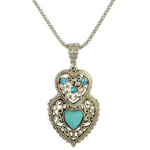 A Suit of Rhinestone Faux Turquoise Heart Necklace and Earrings -