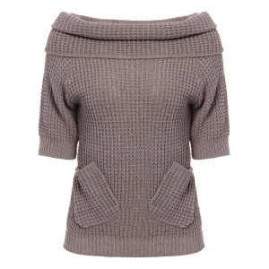 Chic 3/4 Sleeve Pure Color Pocket Design Women's Sweater