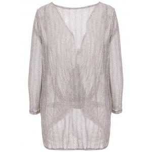 Stylish Loose-Fitting Solid Color Long Sleeve Knitwear For Women - GRAY XL