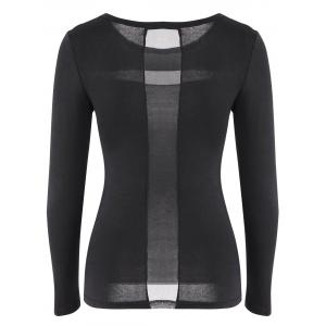 Simple Round Neck Solid Color Splicing Slimming Long Sleeve T-Shirt For Women -