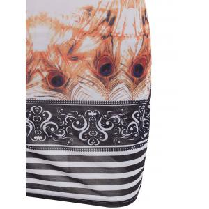 Brief Cowl Neck Sleeveless Abstract Feather Print Striped Mini Dress For Women -