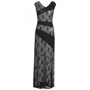 Sleeveless Plus Size Sheer Lace Bandage Prom Maxi Dress - Black - 3xl
