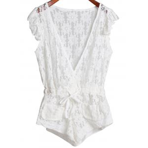 Plunging Neck Sleeveless Cut Out Women's Lace Romper - White - L