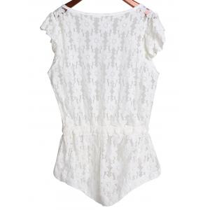 Plunging Neck Sleeveless Cut Out Women's Lace Romper - WHITE L