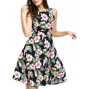 Belted Knee Length Floral Flare Summer Dress