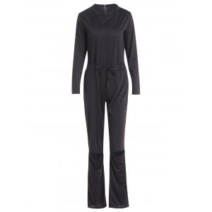 Vogue Skew Collar Broken Hole Long Sleeve Jumpsuit For Women