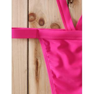 Spaghetti Strap Solid Color Hollow Out Bikini Set For Women - ROSE S
