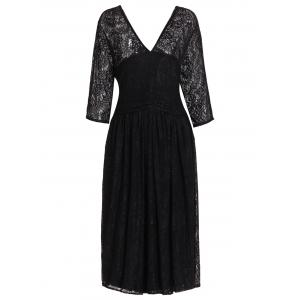 Plus Size Lace Midi V Neck A Line Dress - Black - 5xl