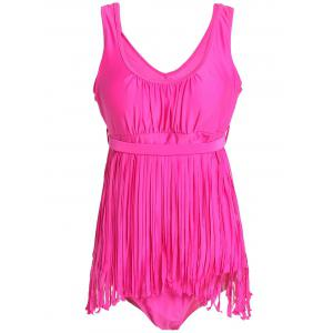 Scoop Neck Sleeveless Fringed Solid Color Swimwear For Women - Rose - 5xl
