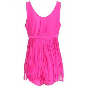 Scoop Neck Sleeveless Fringed Solid Color Swimwear For Women - ROSE 4XL