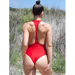 Plunging Neck High Cut One Piece Swimwear - RED M