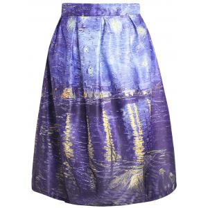Oil Painting Print Box Pleated Skirt - Colormix - M