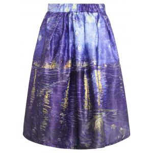 Oil Painting Print Box Pleated Skirt - COLORMIX M