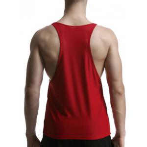 Mesh Quick Dry Graphic Tank Top - RED M