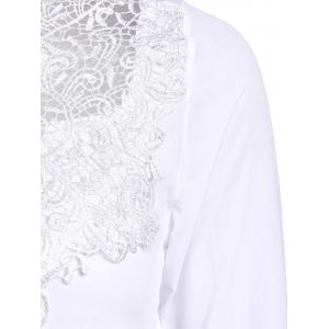 Col rond Simple See-Through Solide Chemisier manches Femmes Couleur  's long - Blanc M