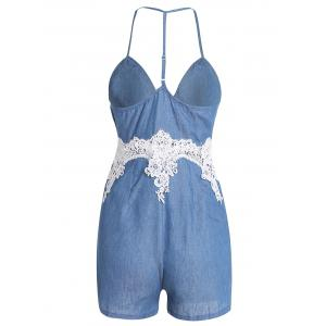 Spaghetti Strap Lace Trim Short Denim Romper - BLUE L
