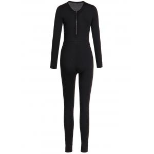 Zippered V-Neck Long Sleeve Solid Color Bodycon Jumpsuit For Women - Black - S