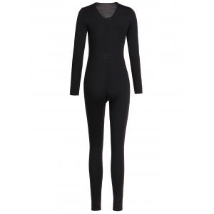 Zippered V-Neck Long Sleeve Solid Color Bodycon Jumpsuit For Women - BLACK S