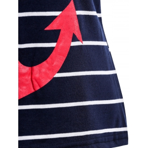 Casual Scoop Neck Anchor Pattern Striped Tank Top For Women -