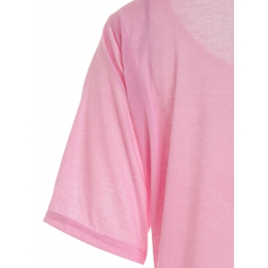 Casual Scoop Neck Solid Color Half Sleeve T-Shirt For Women - PINK M