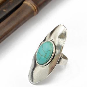 Faux Turquoise Oval Alloy Ring -