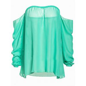 Stylish Slash Collar Long Sleeve Pure Color Chiffon Women's Blouse