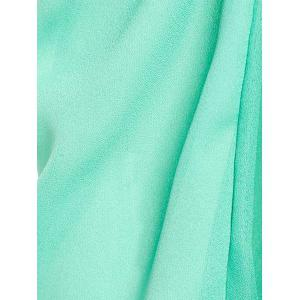 Stylish Slash Collar Long Sleeve Pure Color Chiffon Women's Blouse - GREEN M