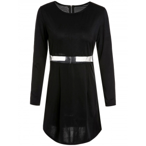 Sexy Scoop Collar Long Sleeve Bodycon See-Through Women's Dress