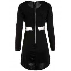 Sexy Scoop Collar Long Sleeve Bodycon See-Through Women's Dress - BLACK M