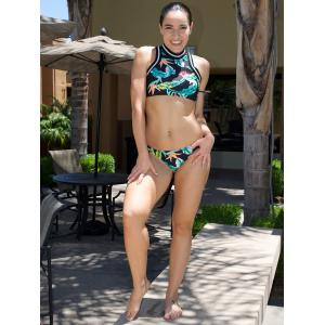 Vintage Colorful Printed Bra and Low-Waist Briefs Twinset Swimwear For Women -