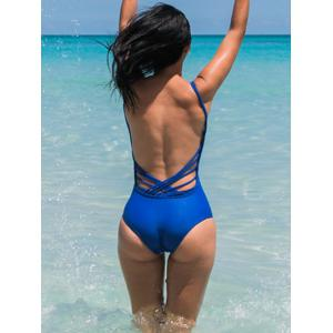 Stylish Strappy Backless Blue One-Piece Swimsuit For Women -