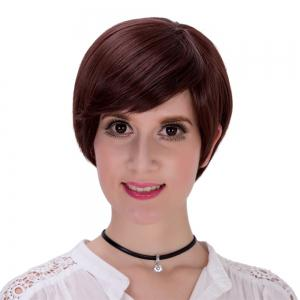 Sophisticated Short Black Straight Synthetic Full Bang Capless Wig For Women