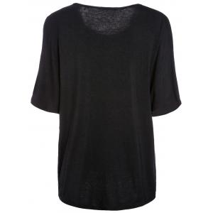 Trendy Scoop Neck Batwing Sleeve Solid Color Loose-Fitting Women's T-Shirt -