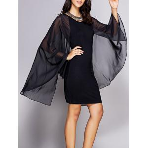 Chic Cape Sleeve Round Neck Women's Mini Bodycon Dress