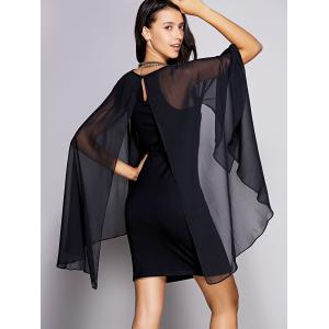 Chic Cape Sleeve Round Neck Women's Mini Bodycon Dress - BLACK XL